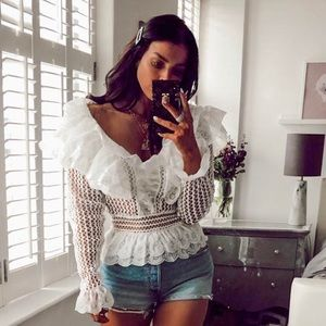 White Lace Flare Crochet Top